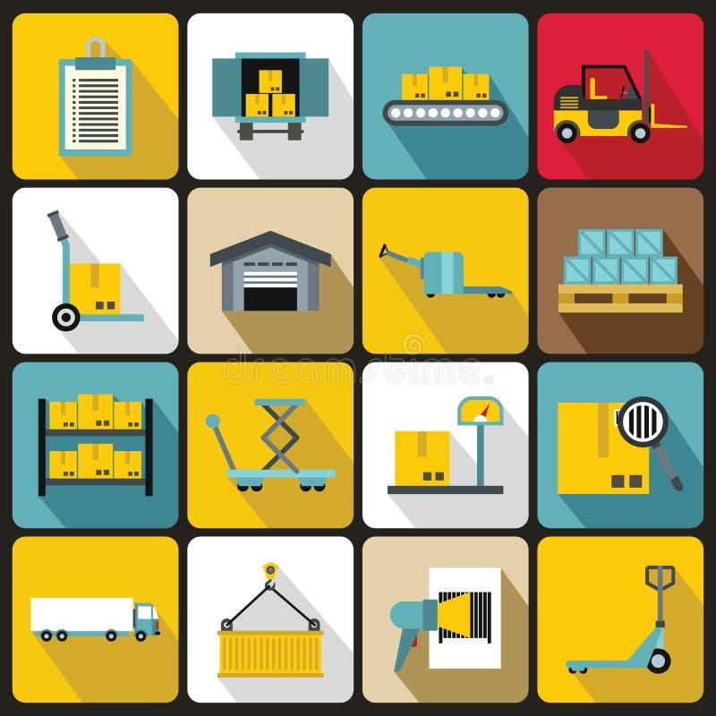 Icone logistiche messe, stile piano illustrazione di stock