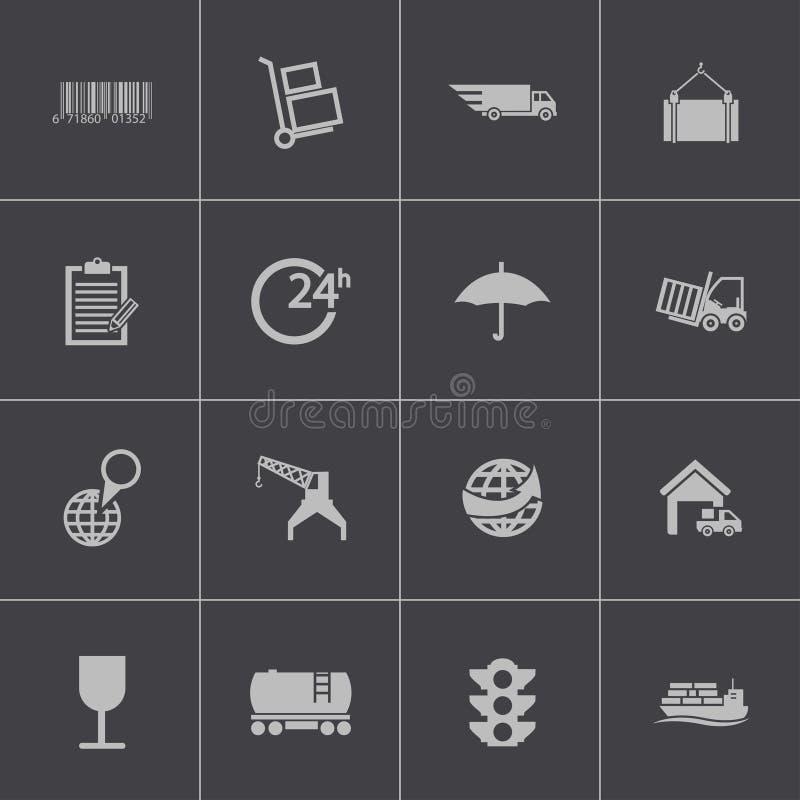 Icone logistiche nere di vettore messe illustrazione di stock