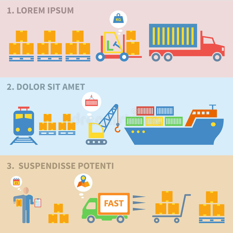 Icone logistiche piane royalty illustrazione gratis