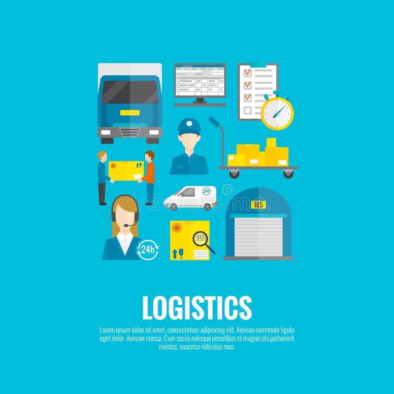 Icone logistiche piane illustrazione di stock