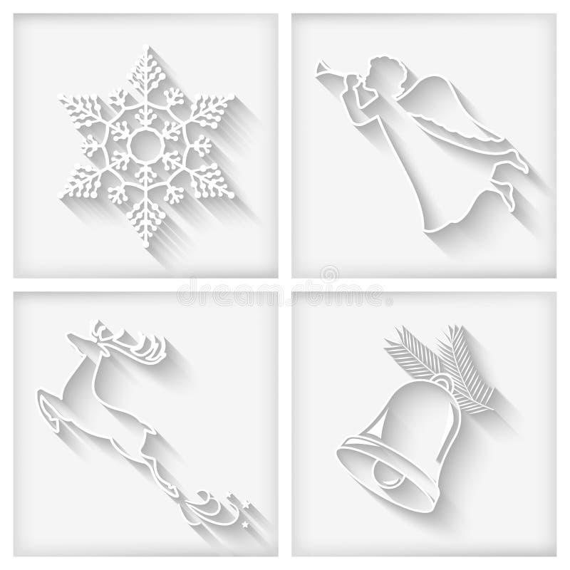 Icone lunghe bianche di Natale delle ombre di vettore royalty illustrazione gratis