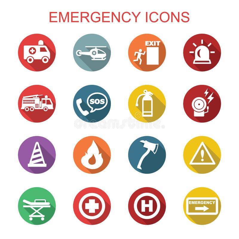Icone lunghe dell'ombra di emergenza illustrazione vettoriale