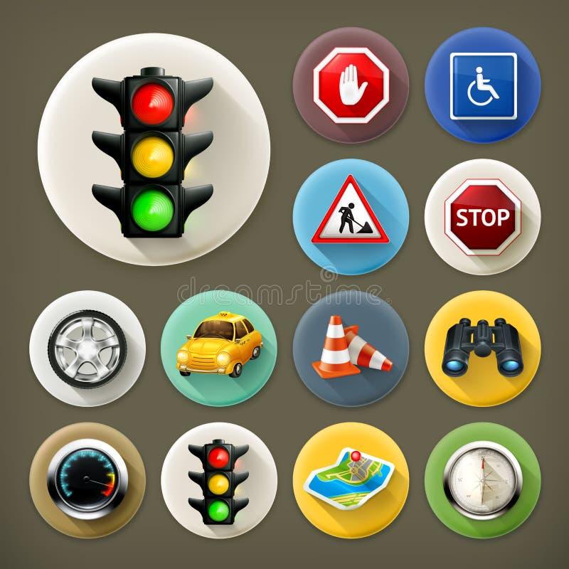 Icone lunghe dell'ombra di navigazione illustrazione di stock