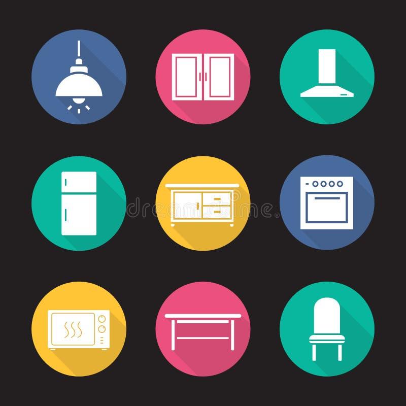 Icone lunghe dell'ombra di progettazione piana interna della cucina messe royalty illustrazione gratis
