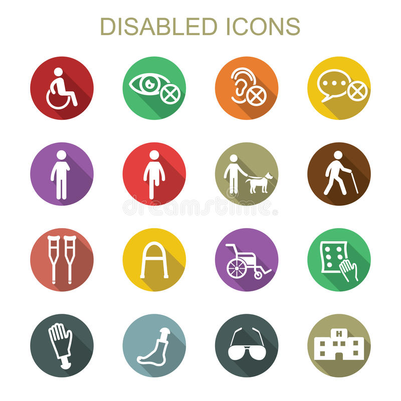 Icone lunghe disabili dell 39 ombra illustrazione vettoriale for Piani di handicap