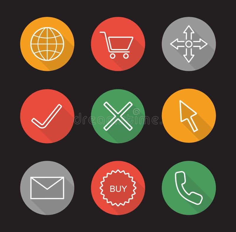 Icone lunghe pianamente lineari online dell'ombra di acquisto messe illustrazione di stock