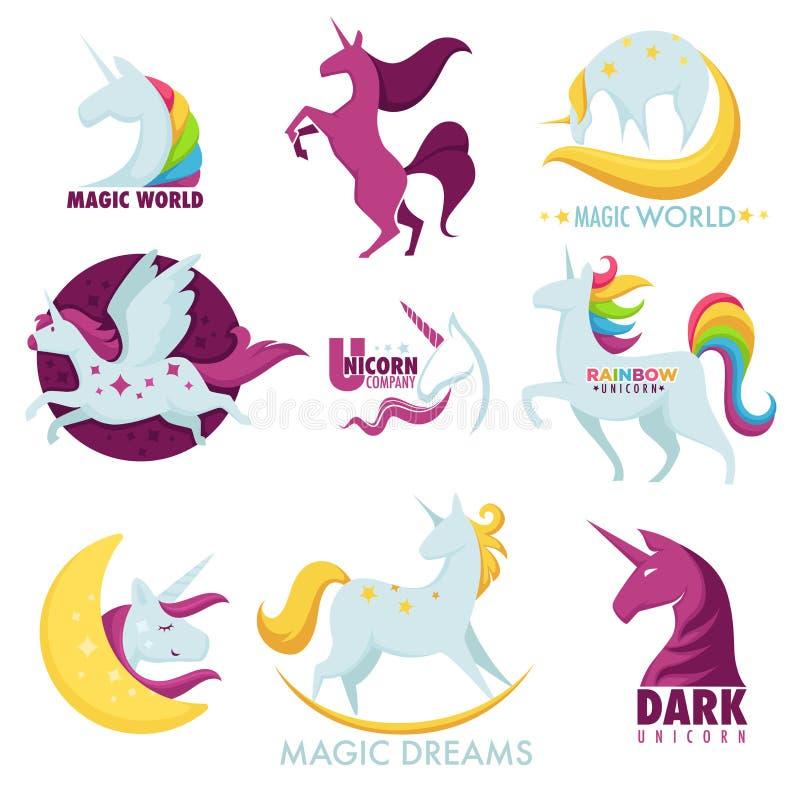 Icone magiche dell'arcobaleno di vettore del cavallo dell'unicorno illustrazione di stock