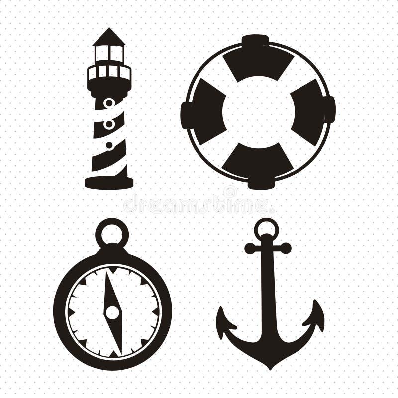 Icone in mare aperto illustrazione vettoriale