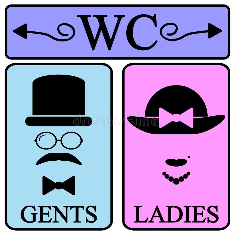 Icone maschii e femminili di simbolo della toilette royalty illustrazione gratis