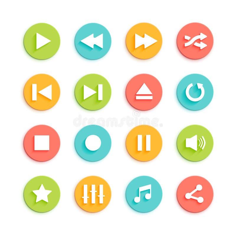 Icone materiali di vettore di progettazione di Media Player messe royalty illustrazione gratis
