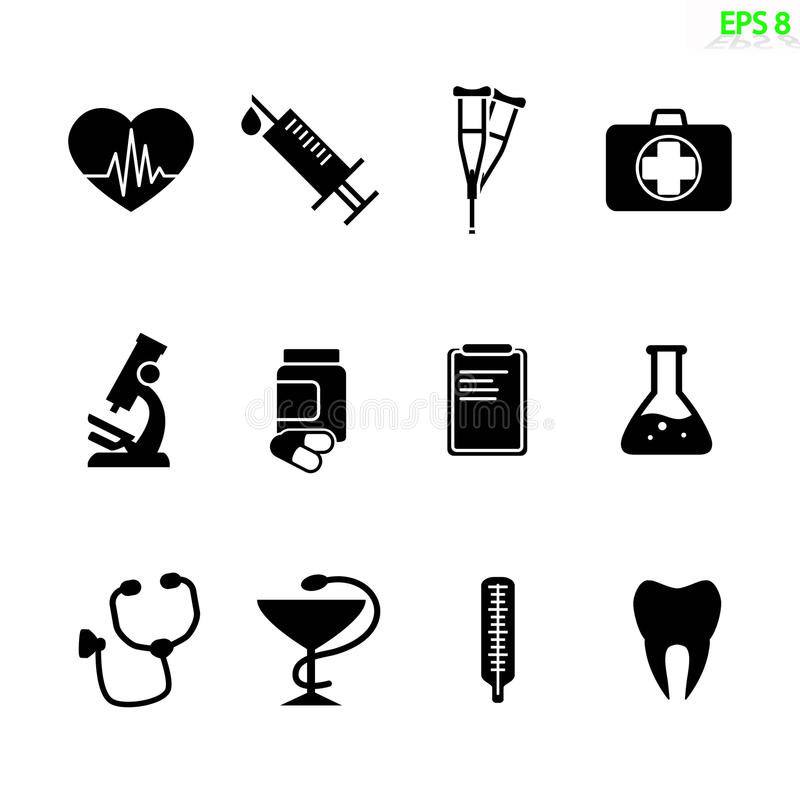 Icone mediche illustrazione vettoriale