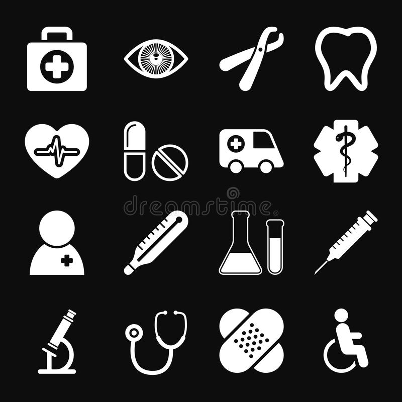 Icone mediche bianche messe royalty illustrazione gratis