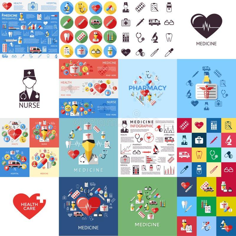 Icone mediche blu gialle rosse di Digital royalty illustrazione gratis