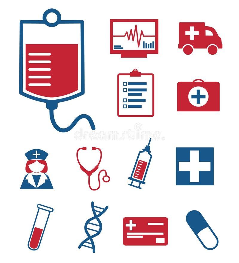 Icone mediche di vettore messe per creare infographics relativo a medicina ed alla sanità, compreso la borsa del sangue, l'ambula illustrazione di stock