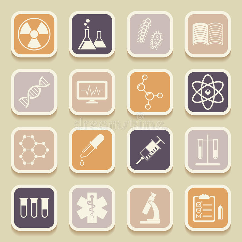 Icone mediche e di istruzione di scienza, dell'universale royalty illustrazione gratis