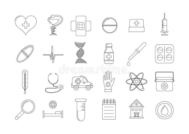 Icone mediche impostate illustrazione vettoriale