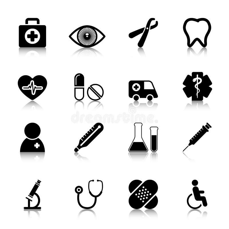 Icone mediche messe con la riflessione immagini stock