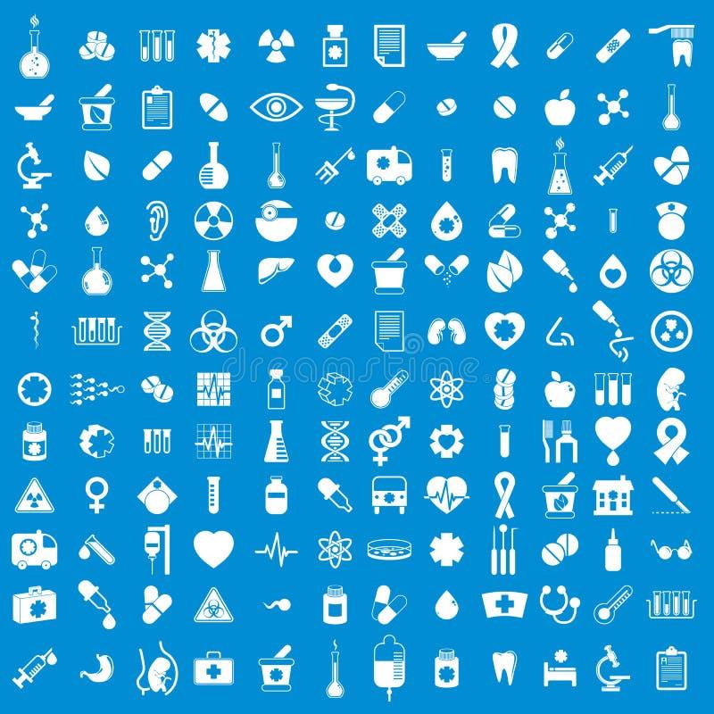 Icone mediche messe, insieme di vettore dei segni della medicina e medici illustrazione vettoriale