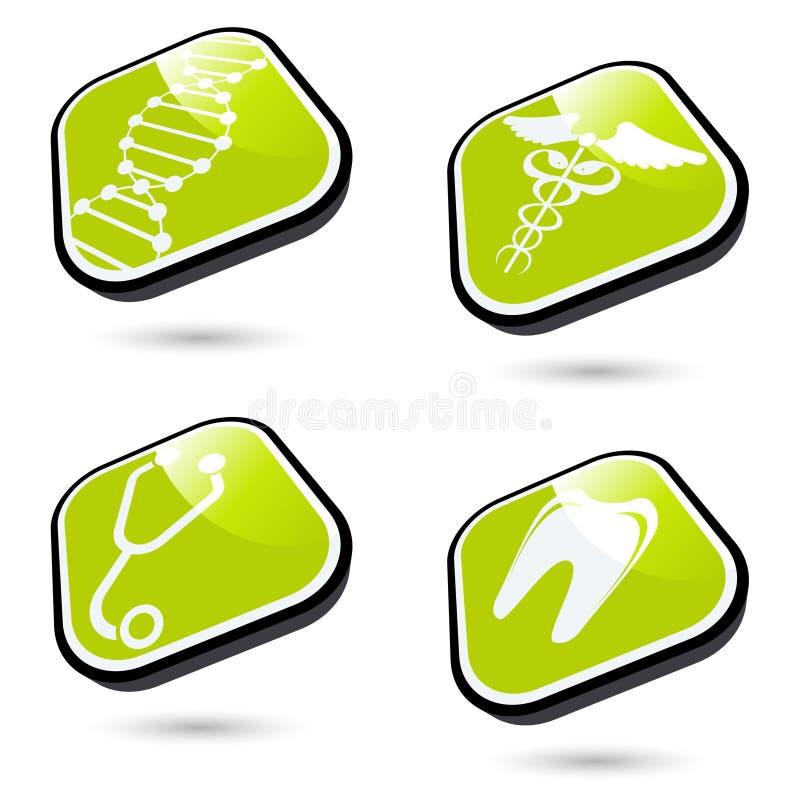 Icone mediche verdi illustrazione vettoriale