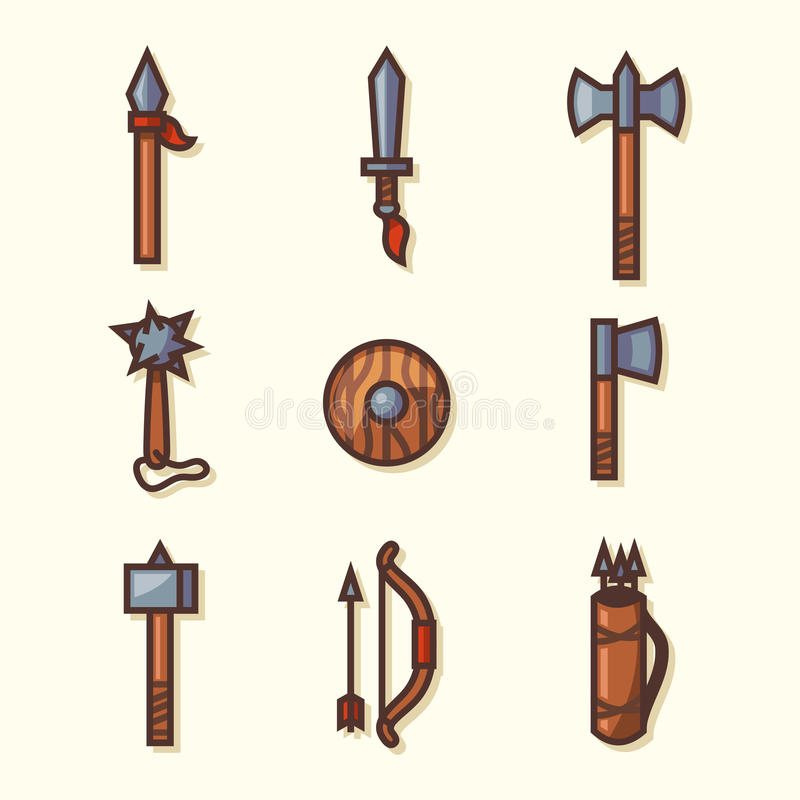 Icone medievali delle armi royalty illustrazione gratis