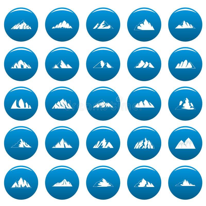 Icone messe blu, stile semplice della montagna illustrazione di stock