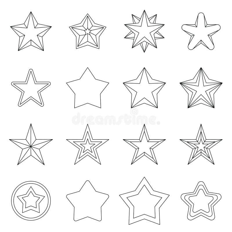 Icone messe, ctyle della stella del profilo illustrazione vettoriale