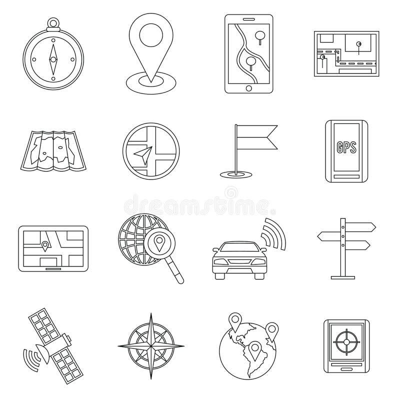 Icone messe, ctyle di navigazione del profilo illustrazione di stock
