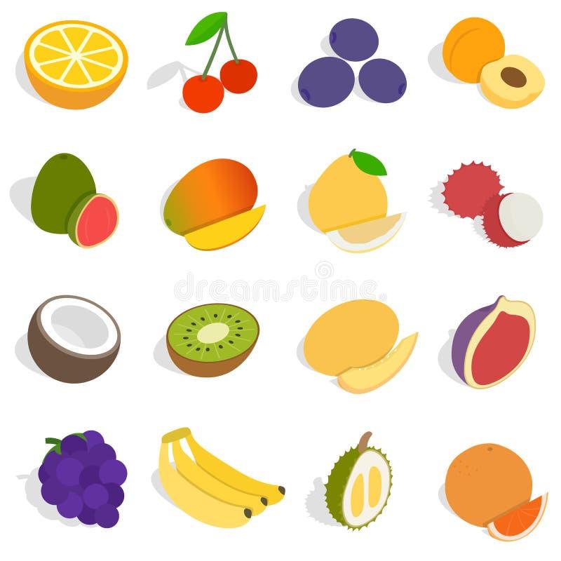 Icone messe, della frutta stile isometrico 3d illustrazione vettoriale