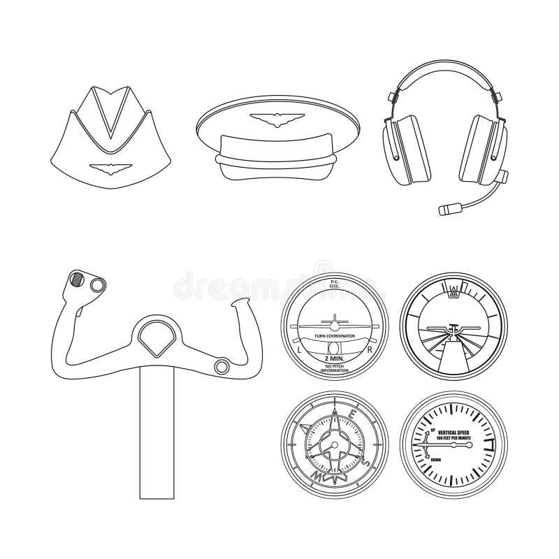 Icone messe di aviazione Disegno di profilo Oggetti di comando degli aerei illustrazione vettoriale