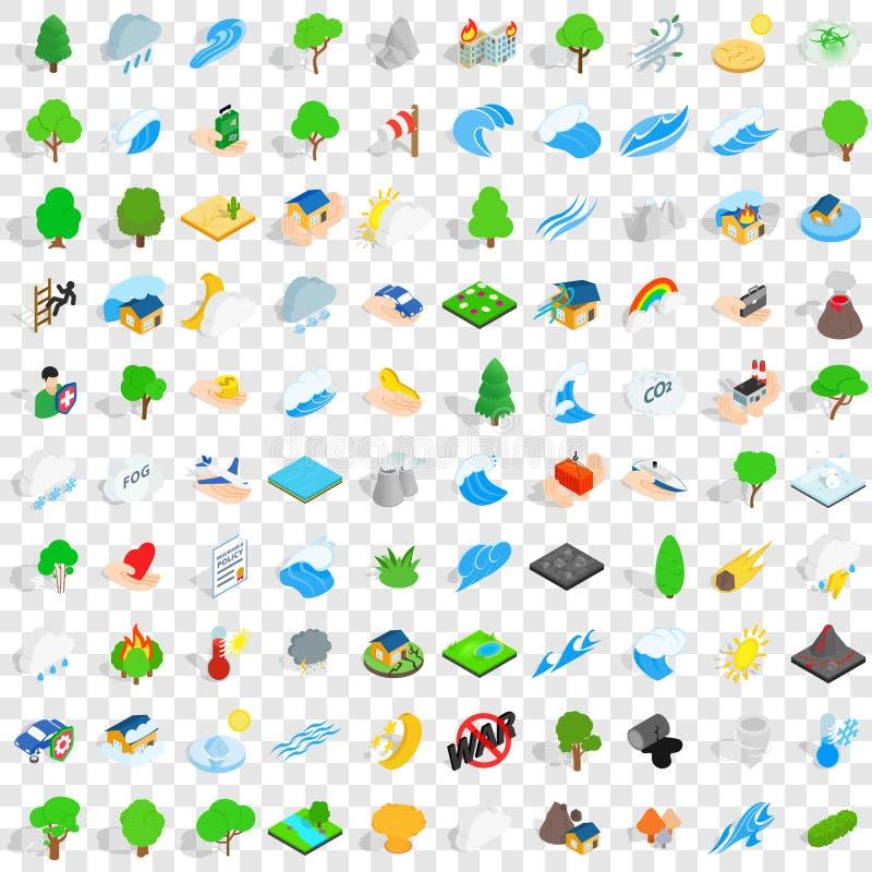100 icone messe, di calamità stile isometrico 3d illustrazione di stock
