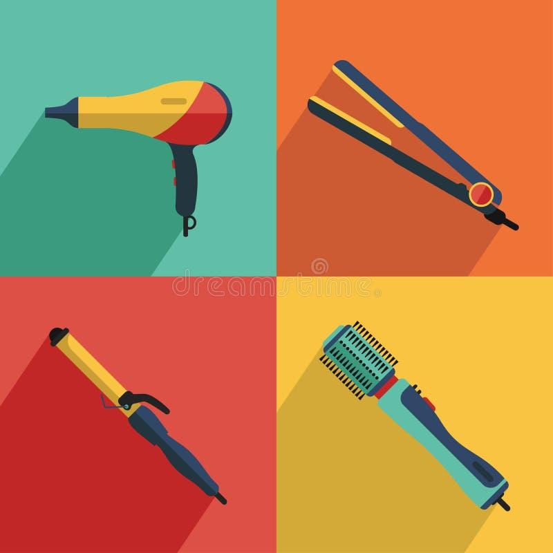 Icone messe di capelli che disegnano le icone degli strumenti royalty illustrazione gratis