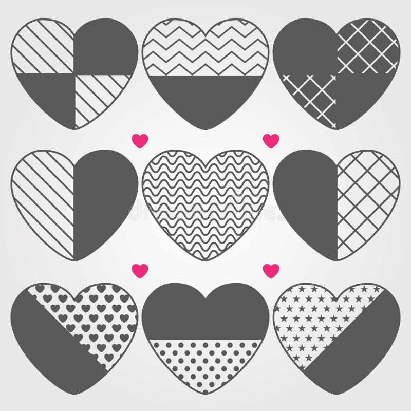 Icone messe, icone disegnate a mano del cuore illustrazione vettoriale