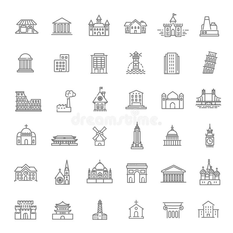 Icone messe, governo della costruzione limiti illustrazione vettoriale