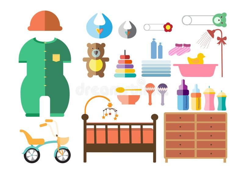 Icone messe, progettazione piana della doccia di bambino royalty illustrazione gratis