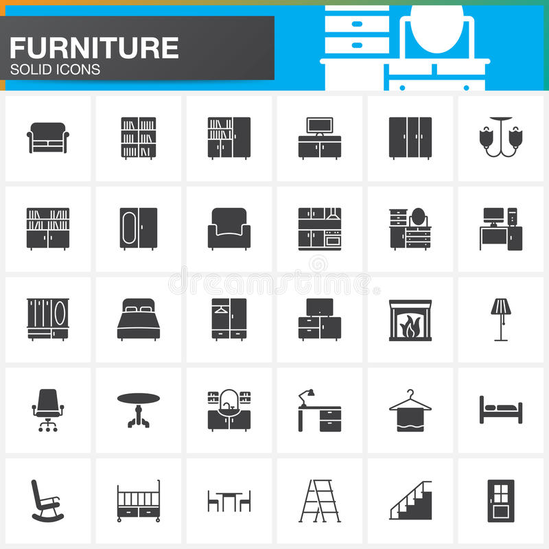 Icone messe, raccolta solida moderna interna domestica di simbolo, pacchetto di vettore della mobilia del pittogramma isolato su  royalty illustrazione gratis