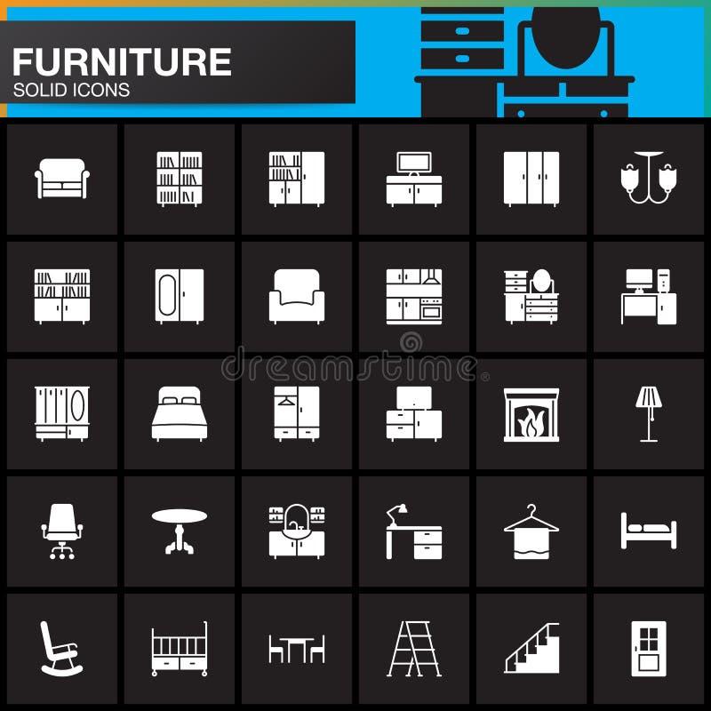 Icone messe, raccolta solida moderna interna domestica di simbolo, pacchetto di vettore della mobilia del pittogramma isolato sul illustrazione vettoriale