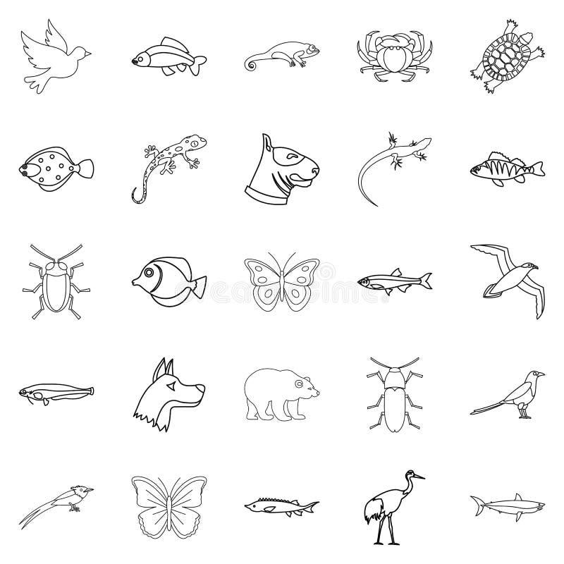 Icone messe, stile degli animali della città del profilo royalty illustrazione gratis