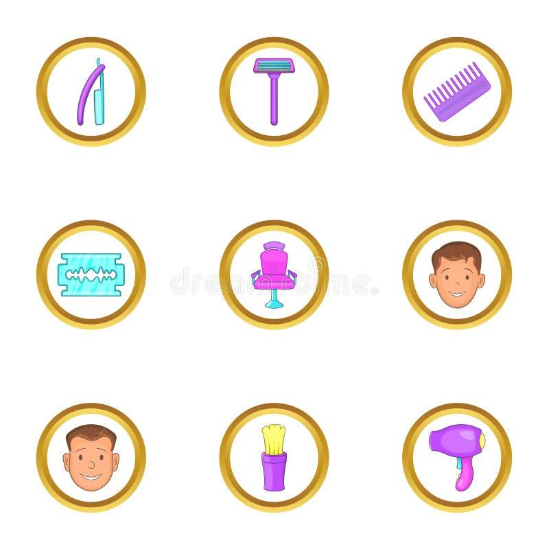Icone messe, stile degli strumenti del parrucchiere del fumetto illustrazione vettoriale