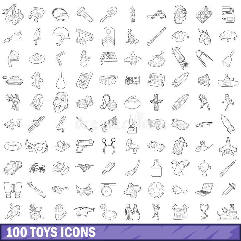 100 icone messe, stile dei giocattoli del profilo illustrazione vettoriale