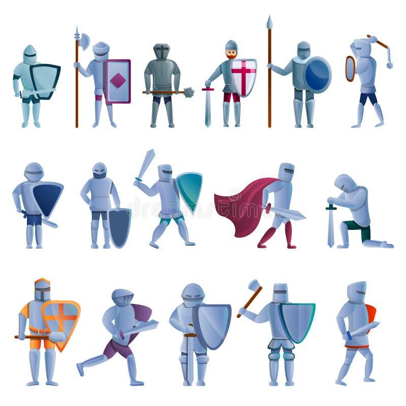 Icone messe, stile del cavaliere del fumetto royalty illustrazione gratis