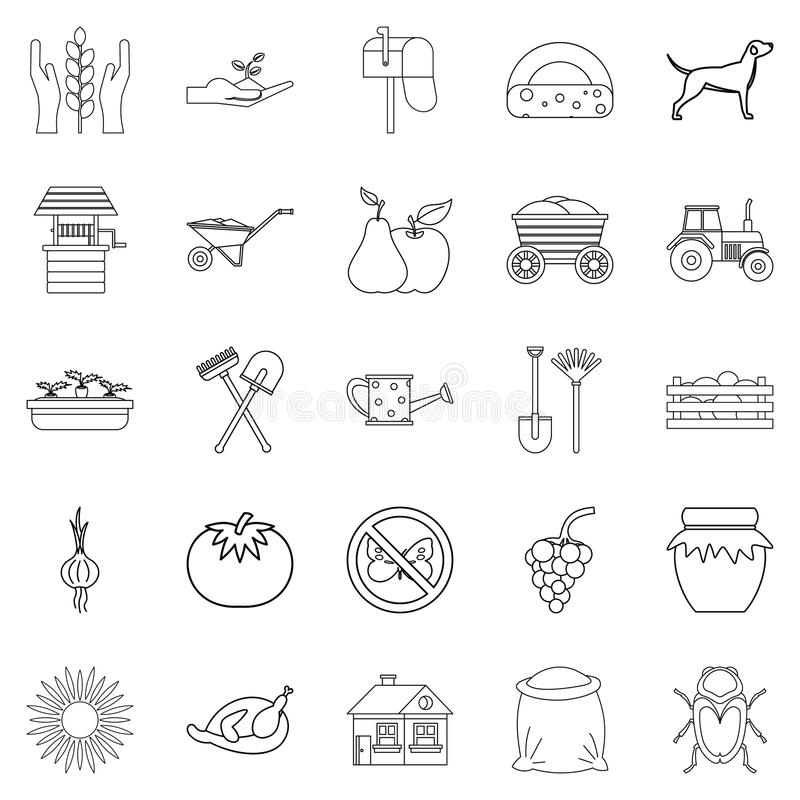 Icone messe, stile del chalet del profilo illustrazione vettoriale
