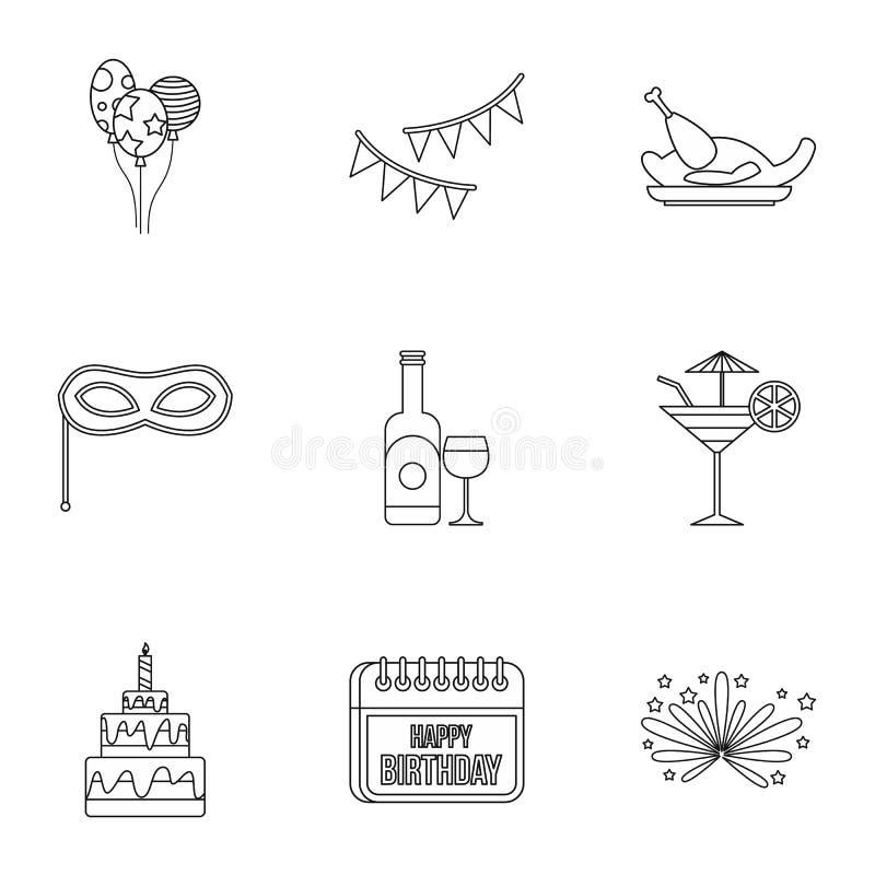 Icone messe, stile del partito dei bambini del profilo illustrazione di stock