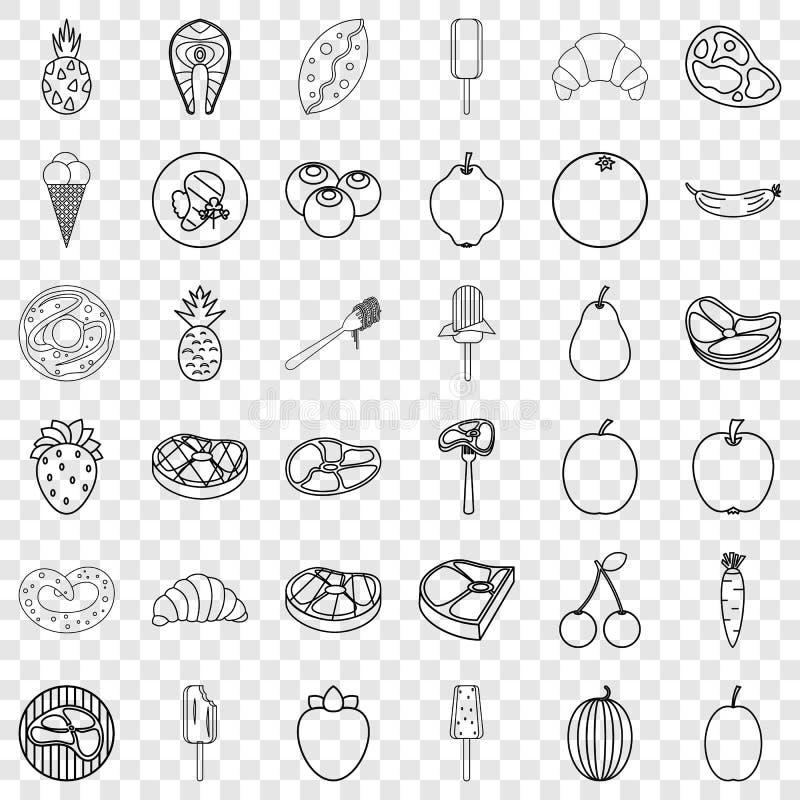 Icone messe, stile del pasto del profilo illustrazione vettoriale