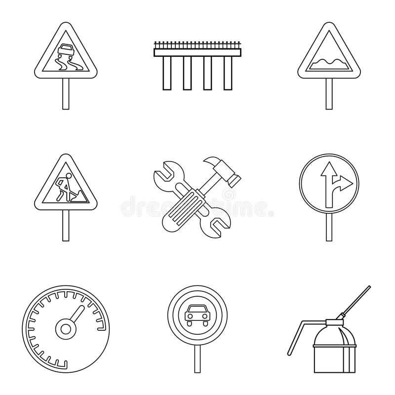 Icone messe, stile del terreno irregolare del profilo royalty illustrazione gratis