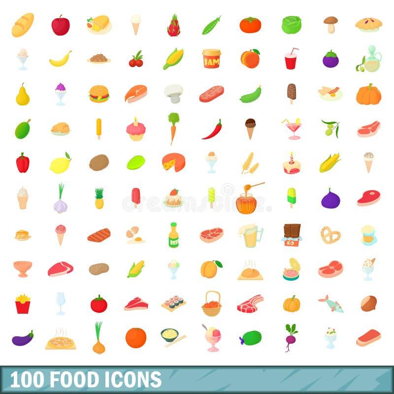 100 icone messe, stile dell'alimento del fumetto royalty illustrazione gratis