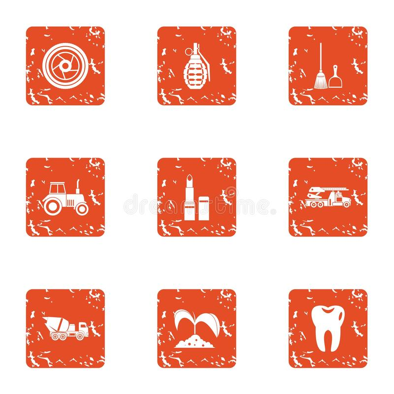 Icone messe, stile dell'istituzione del giardino di lerciume illustrazione di stock