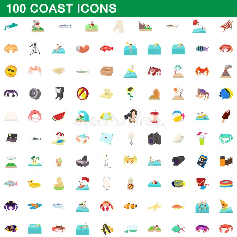 100 icone messe, stile della costa del fumetto illustrazione vettoriale