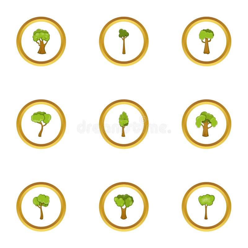 Icone messe, stile della pianta dell'albero del fumetto illustrazione vettoriale