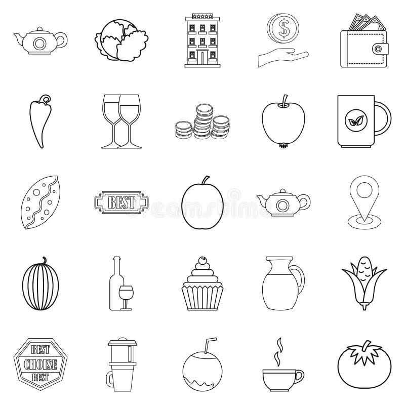 Icone messe, stile della prima colazione continentale del profilo illustrazione vettoriale