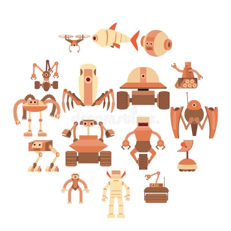 Icone messe, stile delle forme del robot del fumetto royalty illustrazione gratis